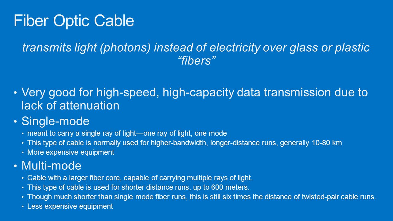 Fiber Optic Cable transmits light (photons) instead of electricity over glass or plastic fibers