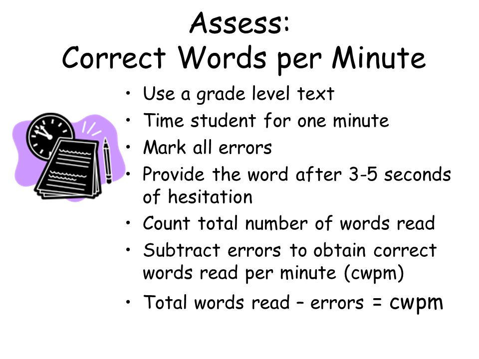 Assess: Correct Words per Minute