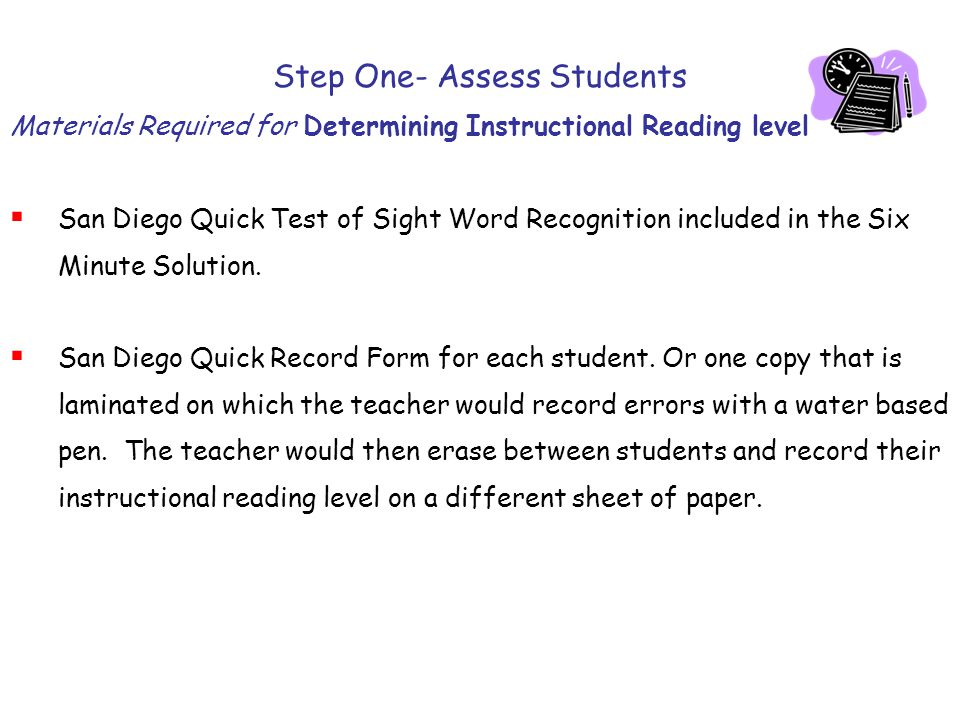 Step One- Assess Students