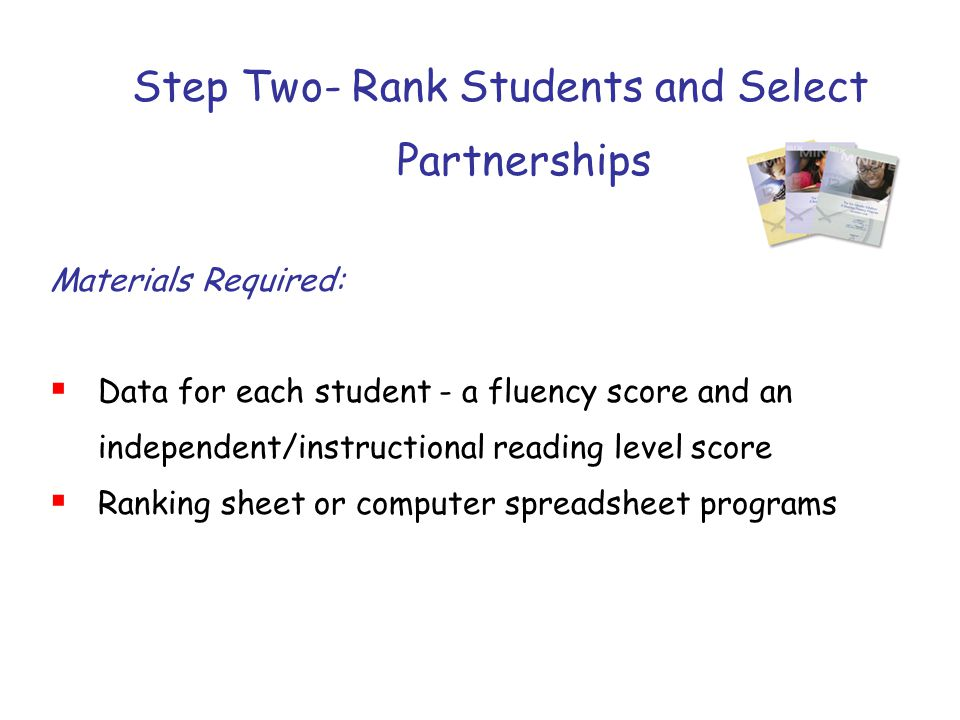 Step Two- Rank Students and Select Partnerships