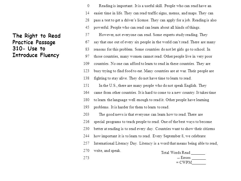Practice Passage 310- Use to Introduce Fluency