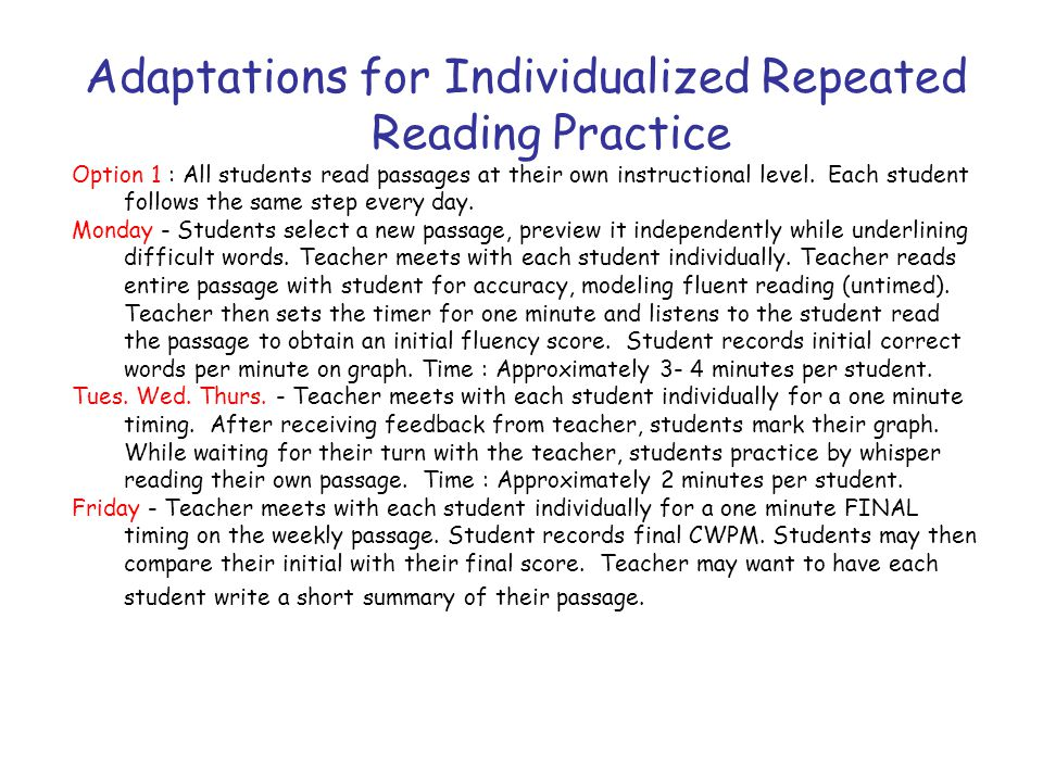 Adaptations for Individualized Repeated Reading Practice