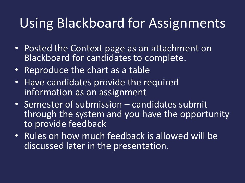 Using Blackboard for Assignments
