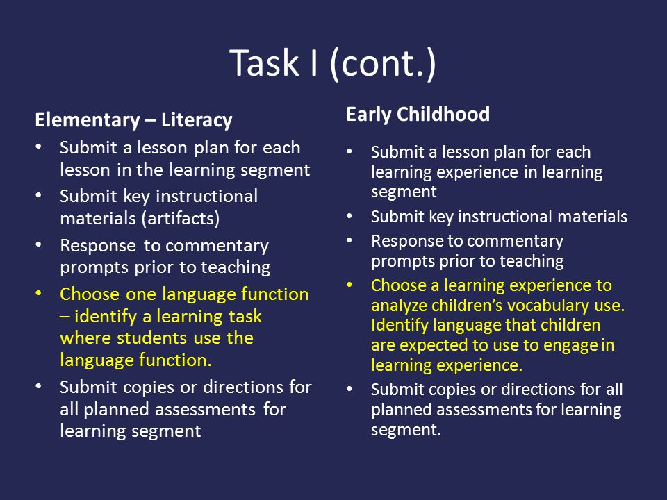 Task I (cont.) Early Childhood Elementary – Literacy