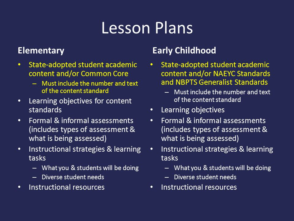 Lesson Plans Elementary Early Childhood