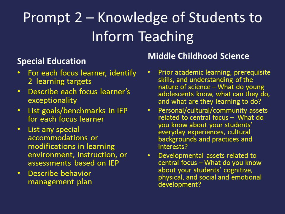 Prompt 2 – Knowledge of Students to Inform Teaching