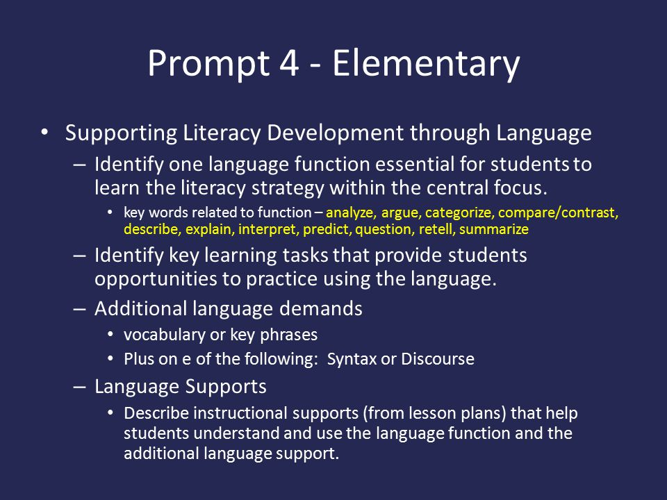 Prompt 4 - Elementary Supporting Literacy Development through Language