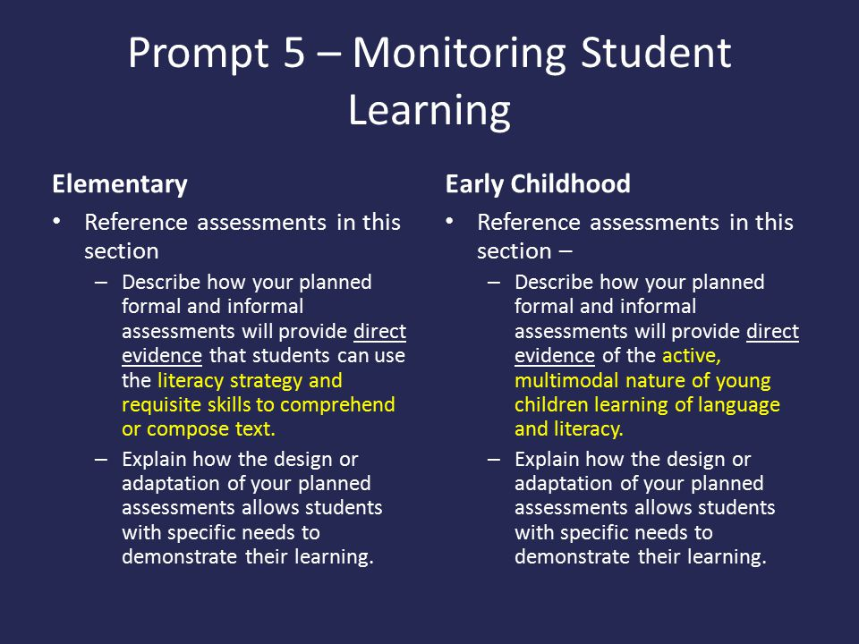 Prompt 5 – Monitoring Student Learning