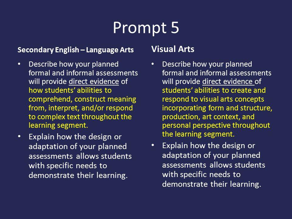 Prompt 5 Secondary English – Language Arts. Visual Arts.