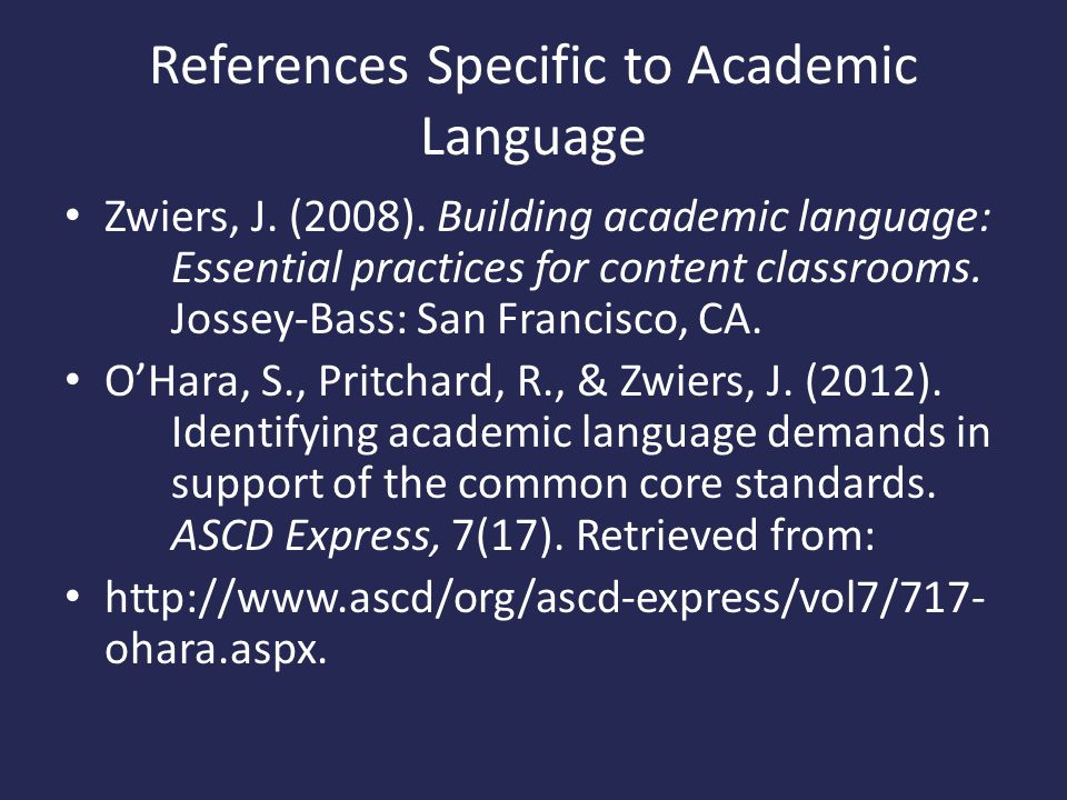 References Specific to Academic Language