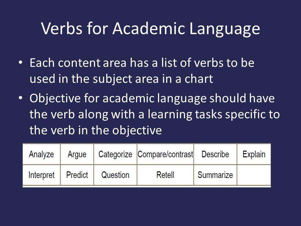 Verbs for Academic Language