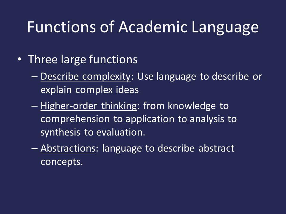Functions of Academic Language