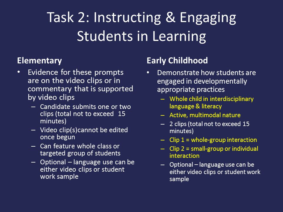 Task 2: Instructing & Engaging Students in Learning