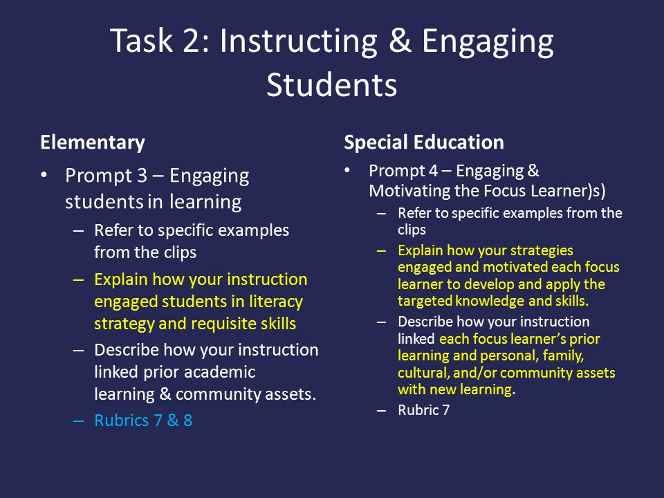 Task 2: Instructing & Engaging Students
