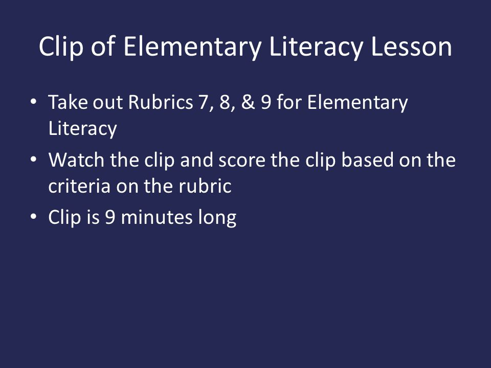 Clip of Elementary Literacy Lesson