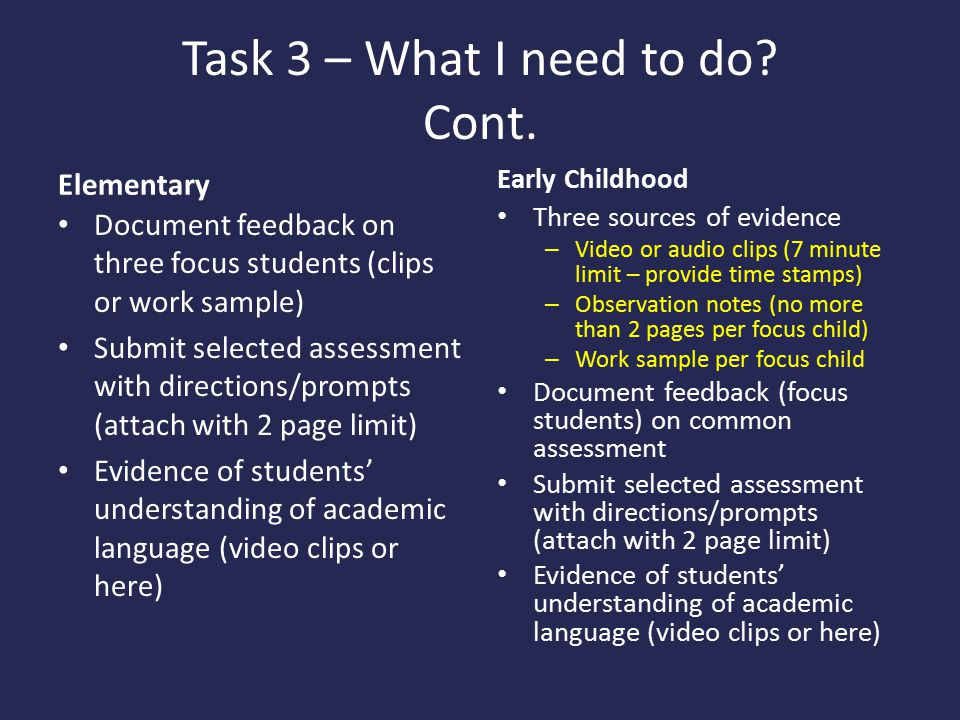Task 3 – What I need to do Cont.