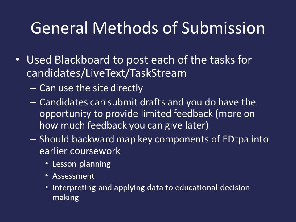 General Methods of Submission