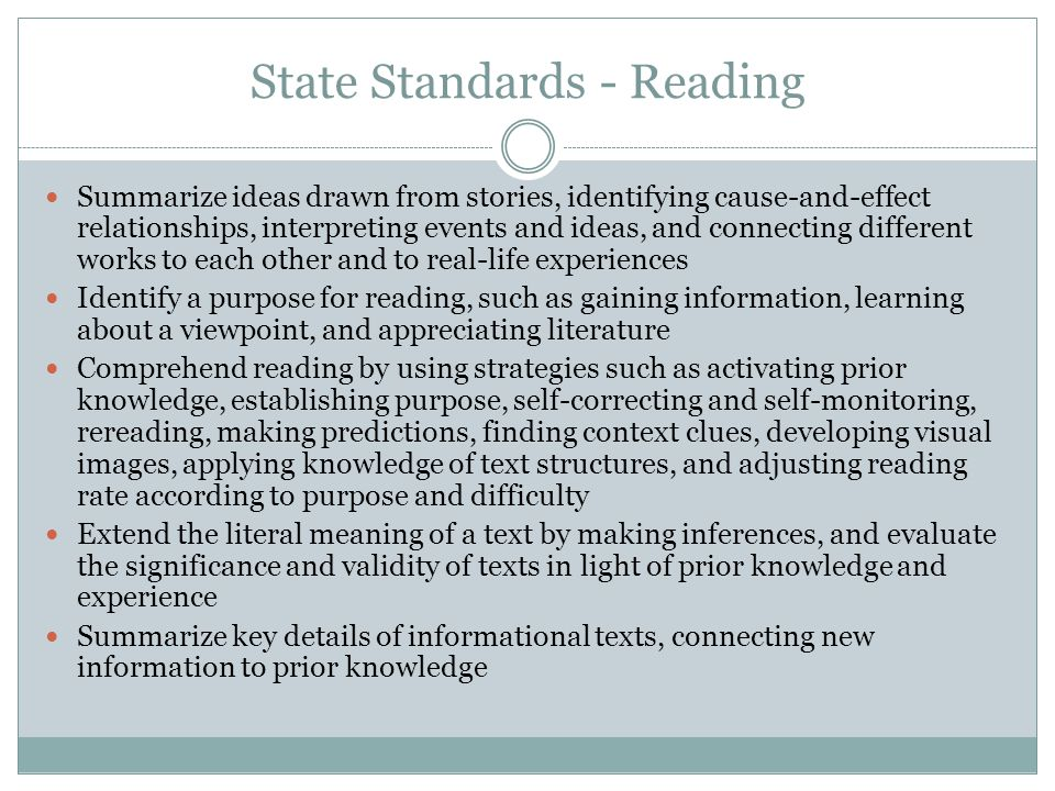State Standards - Reading