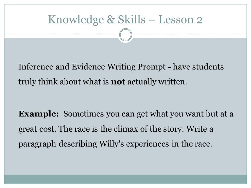 Knowledge & Skills – Lesson 2