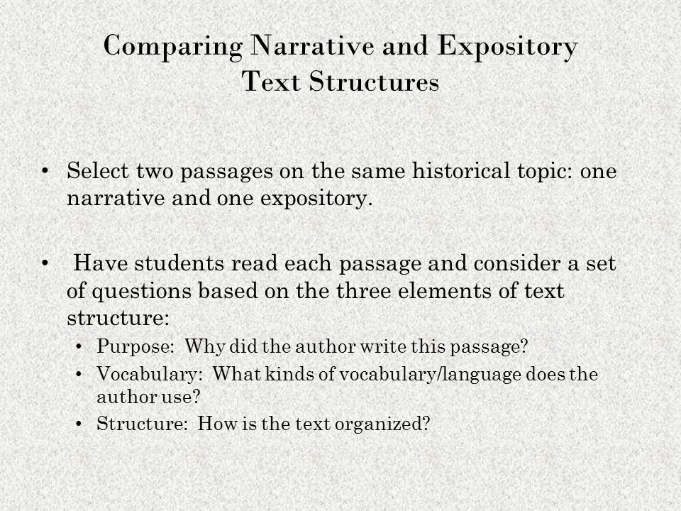 Comparing Narrative and Expository Text Structures