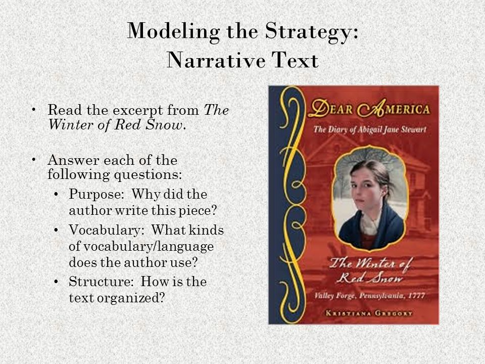 Modeling the Strategy: Narrative Text