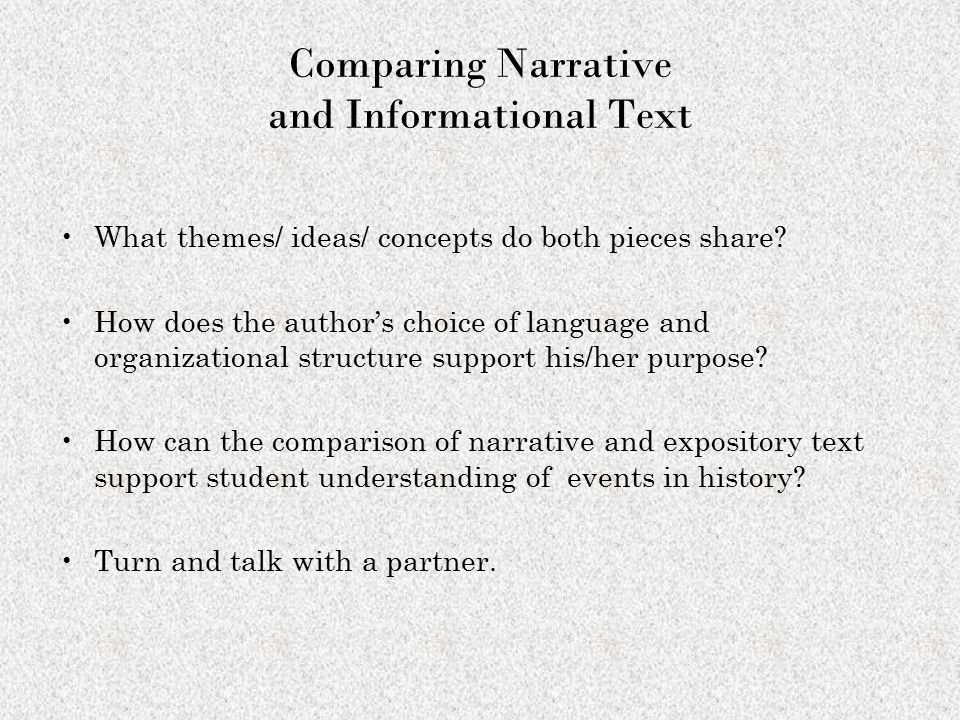 Comparing Narrative and Informational Text
