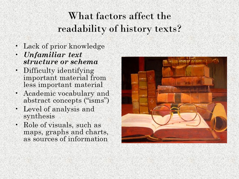 What factors affect the readability of history texts