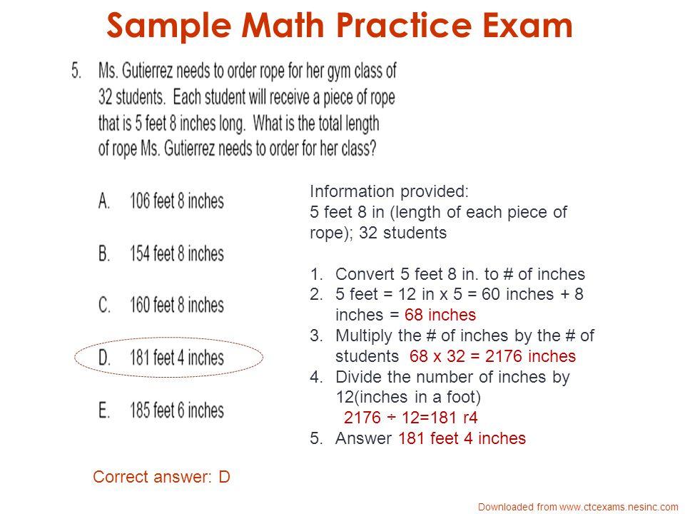 Sample Math Practice Exam