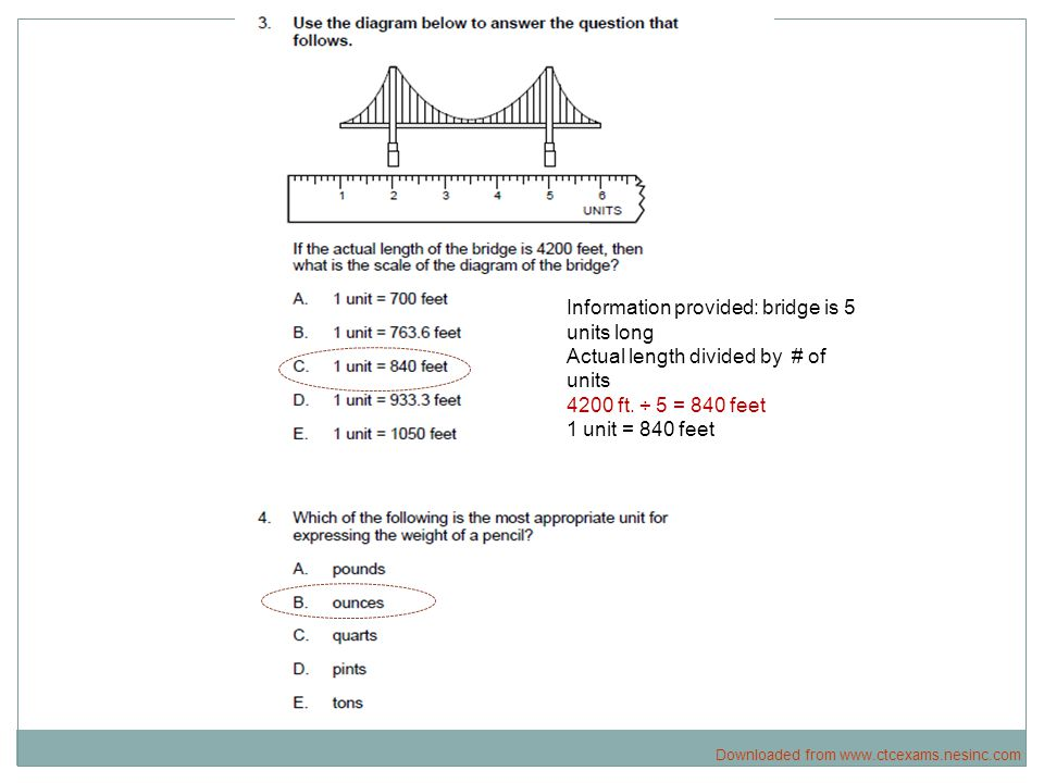 Information provided: bridge is 5 units long