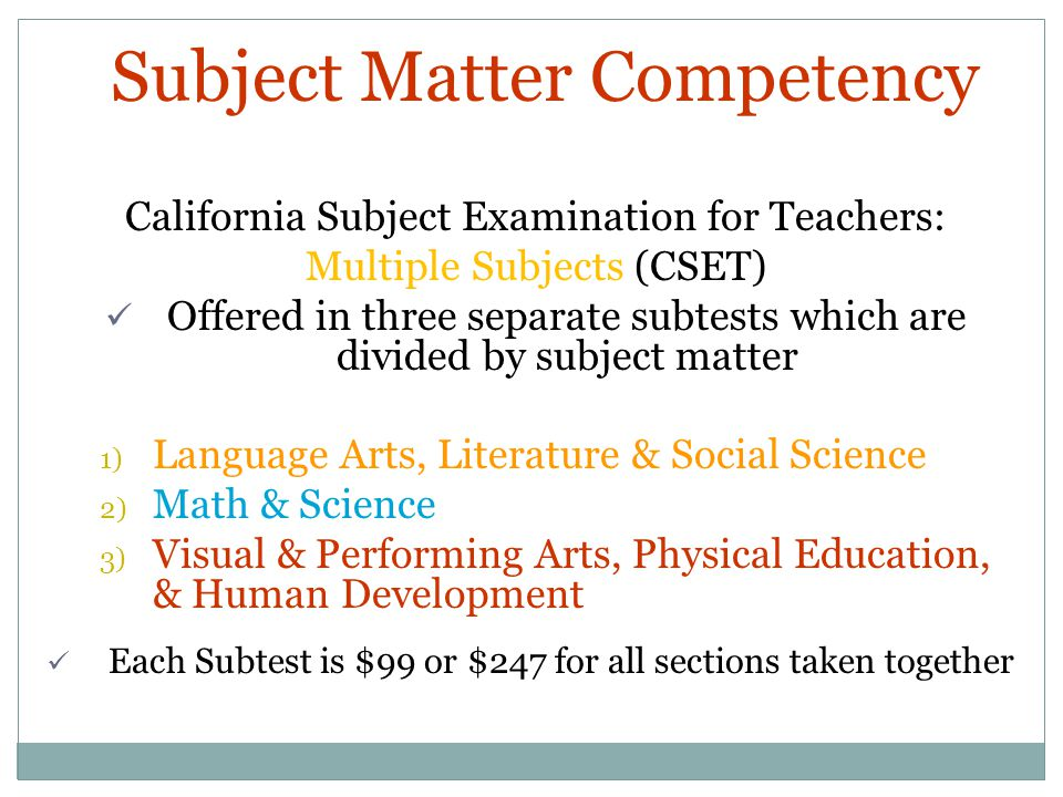 Subject Matter Competency