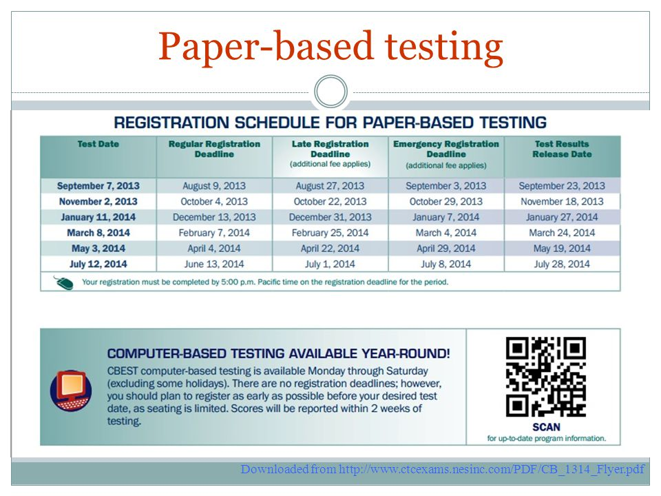 Paper-based testing Downloaded from http://www.ctcexams.nesinc.com/PDF/CB_1314_Flyer.pdf