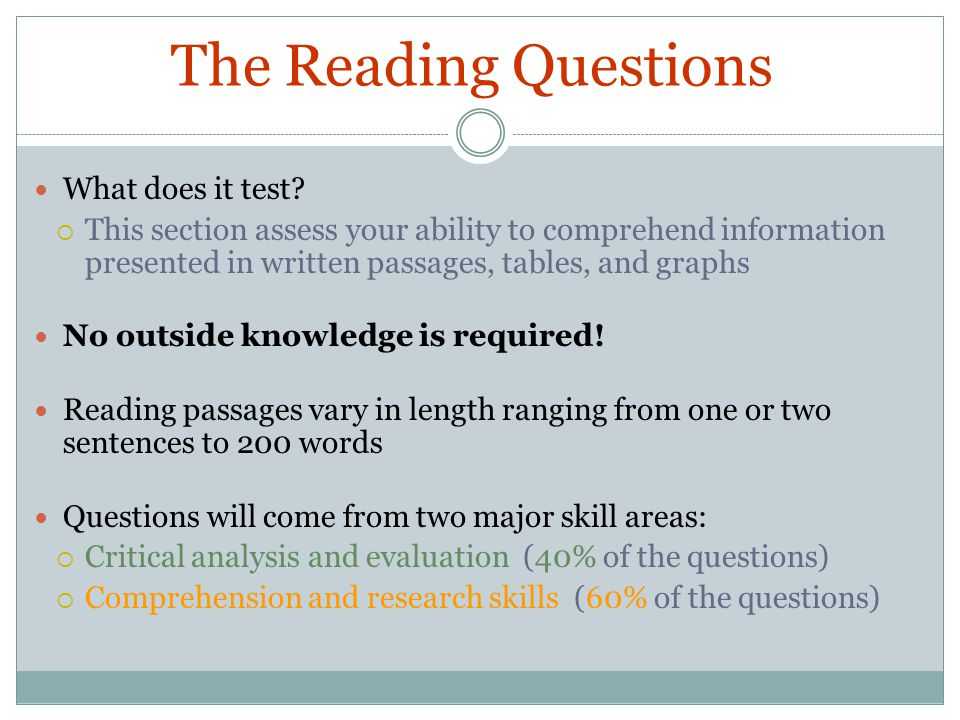 The Reading Questions What does it test