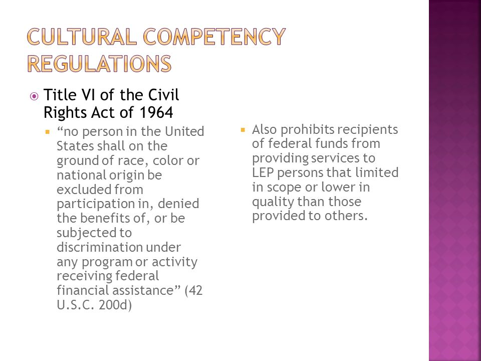 Cultural Competency regulations