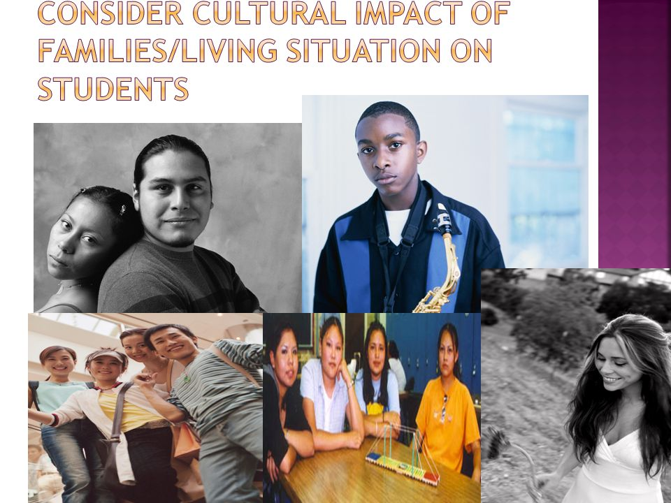 Consider Cultural Impact of families/Living Situation on Students