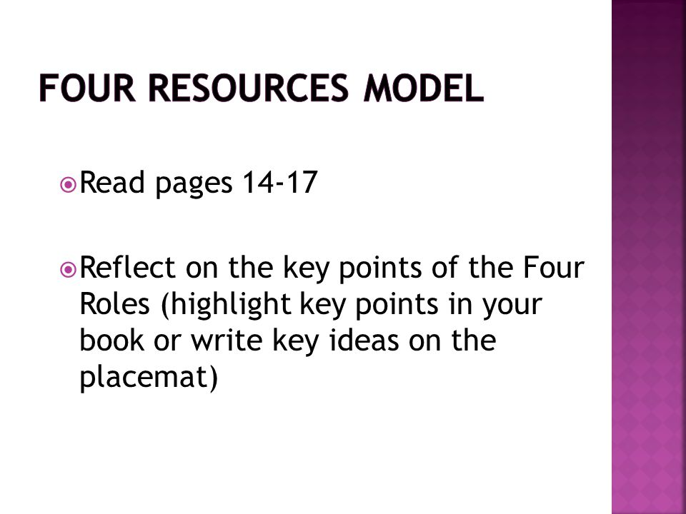 Four Resources Model Read pages 14-17