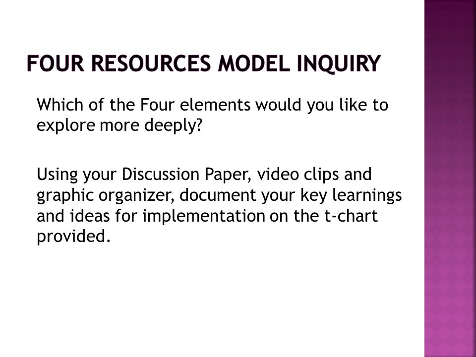 Four Resources Model Inquiry