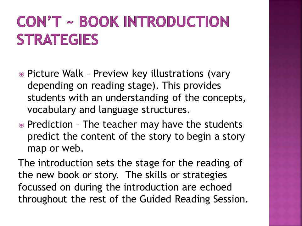 Con't ~ Book Introduction Strategies