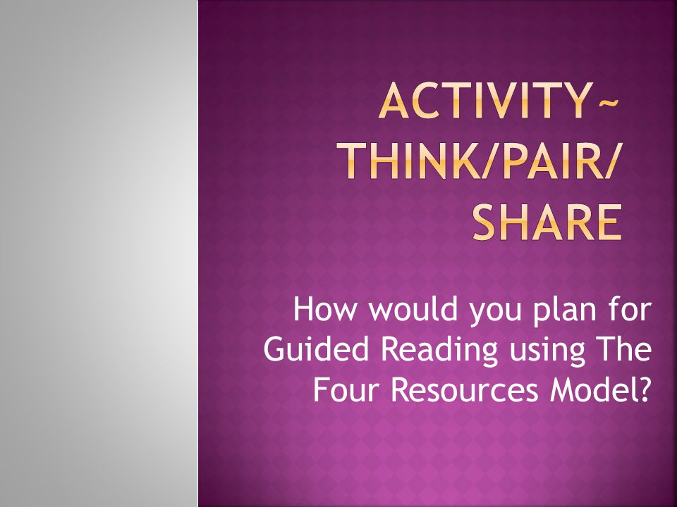 Activity~ Think/Pair/ Share