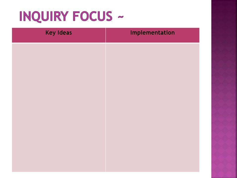 Inquiry Focus ~ Key Ideas Implementation