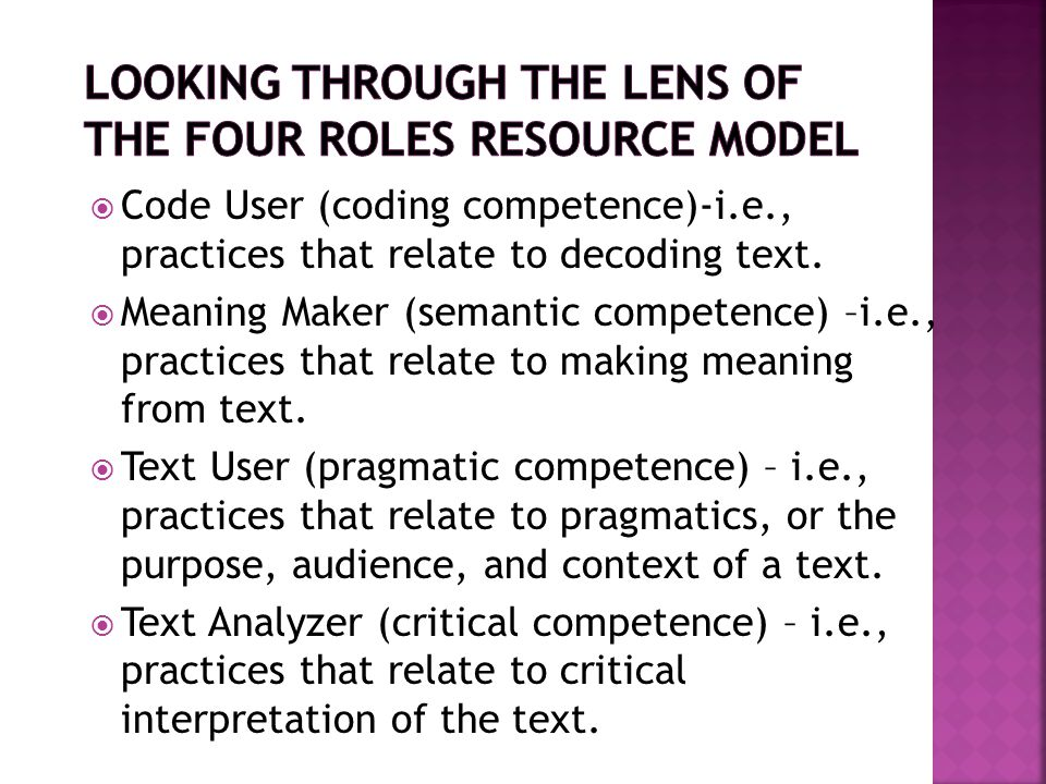 Looking Through the Lens of The Four Roles Resource Model