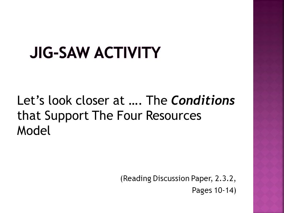 Jig-Saw Activity Let's look closer at …. The Conditions that Support The Four Resources Model. (Reading Discussion Paper, 2.3.2,