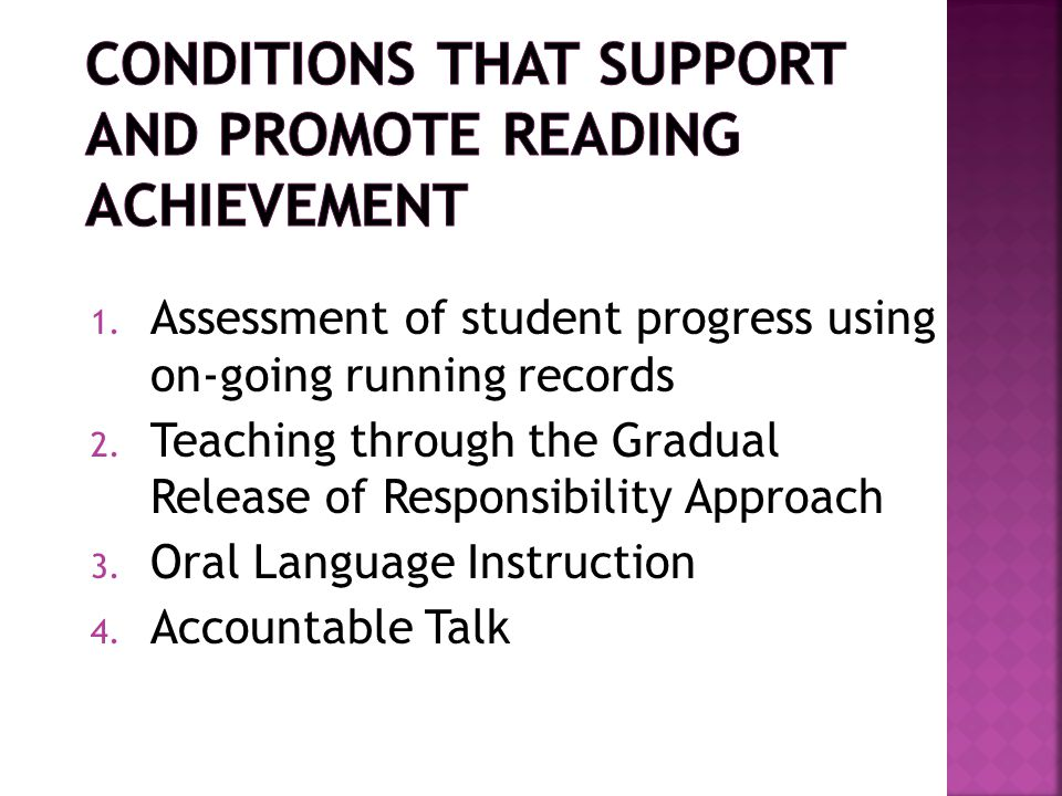 Conditions that Support and Promote Reading Achievement