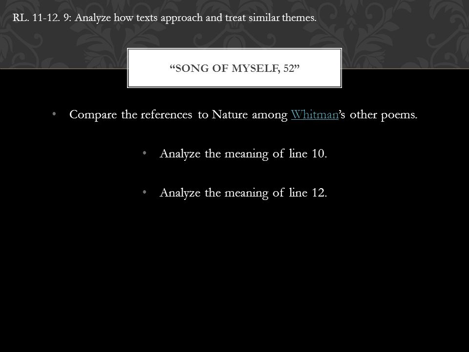 Compare the references to Nature among Whitman's other poems.