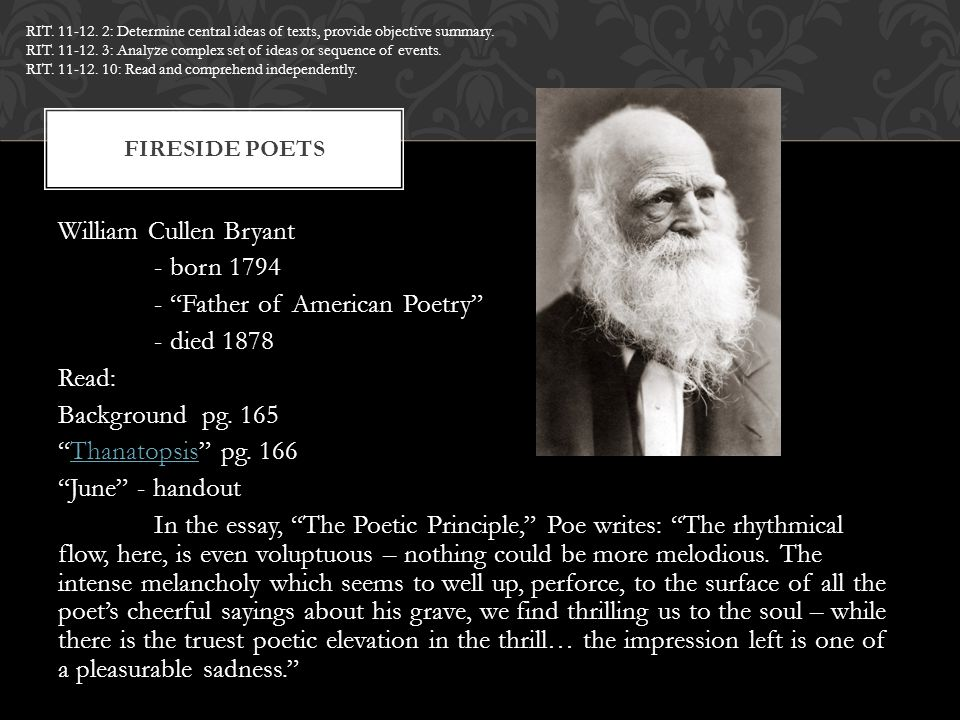 Thanatopsis by william cullen bryant essay