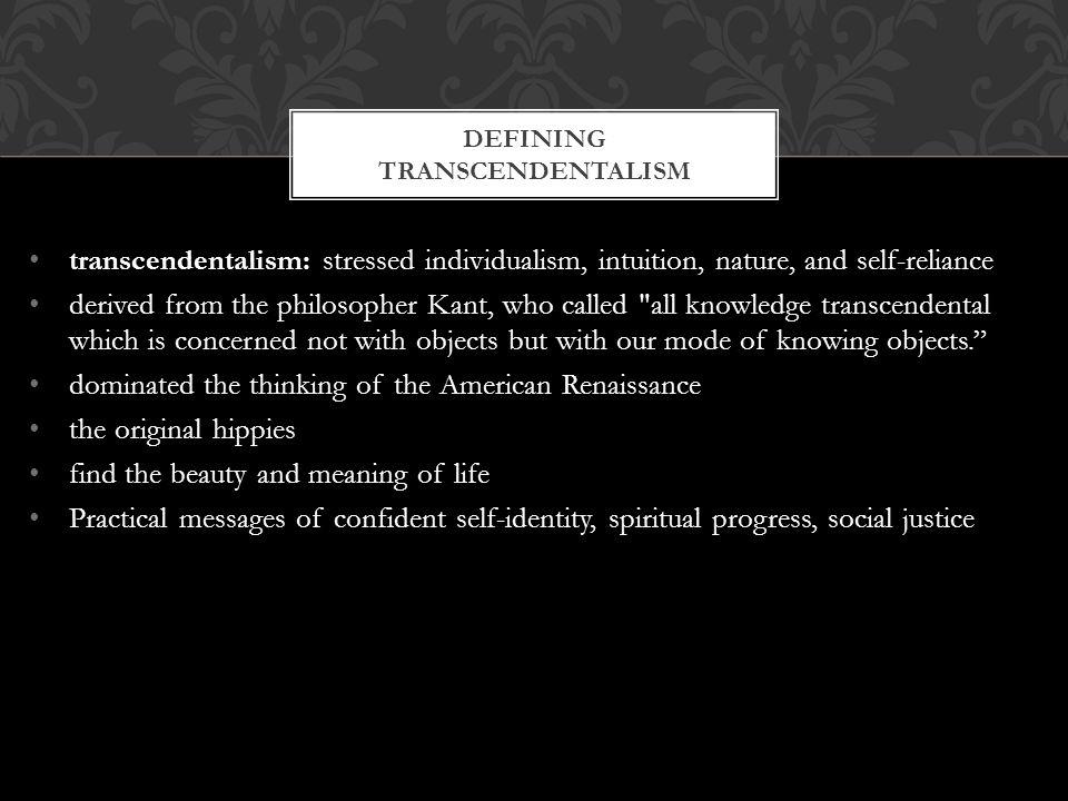 Defining transcendentalism