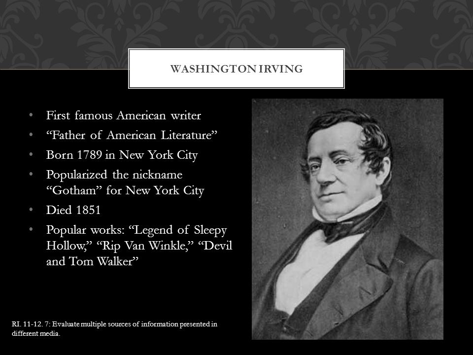 First famous American writer Father of American Literature