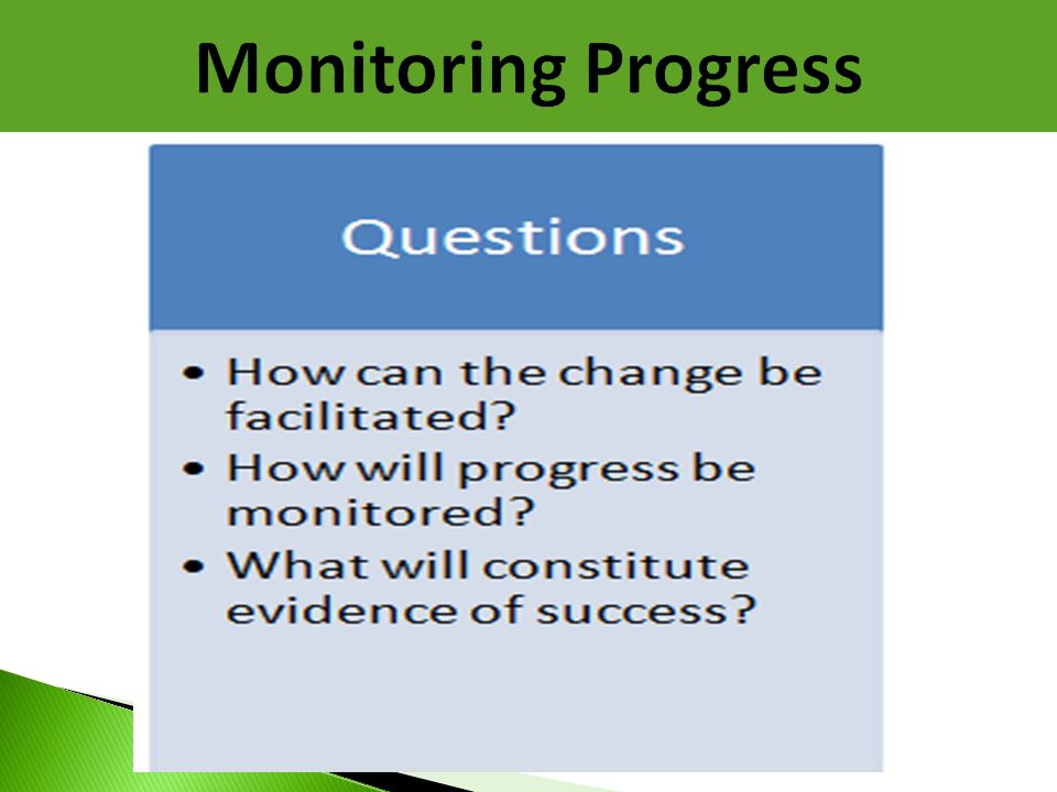 Monitoring Progress Questions addressed in the Monitoring Progress phase include…