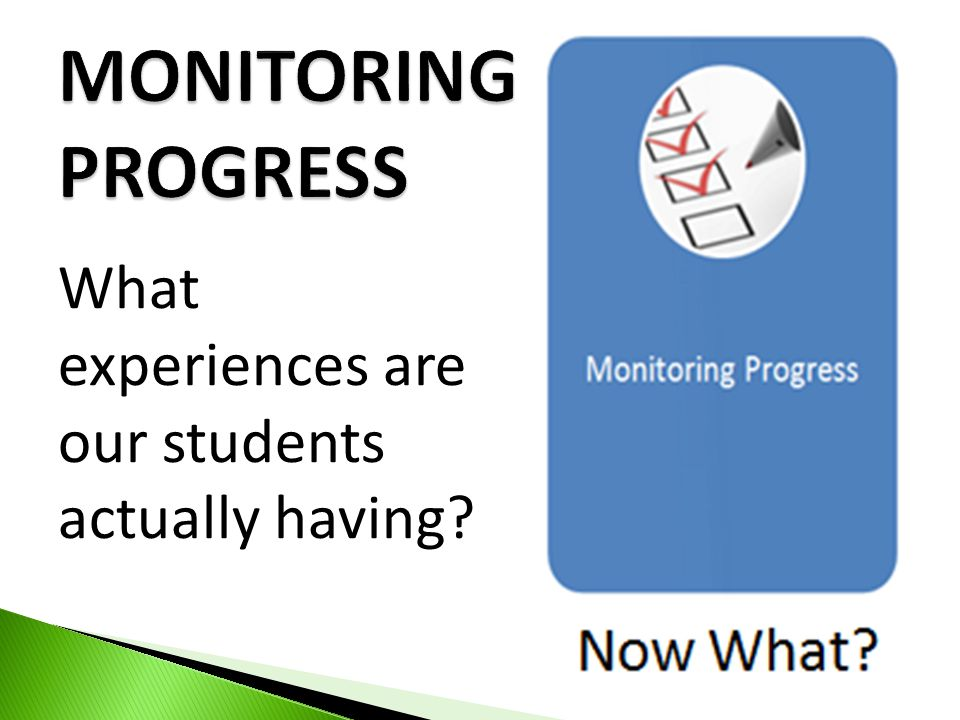 MONITORING PROGRESS What experiences are our students actually having