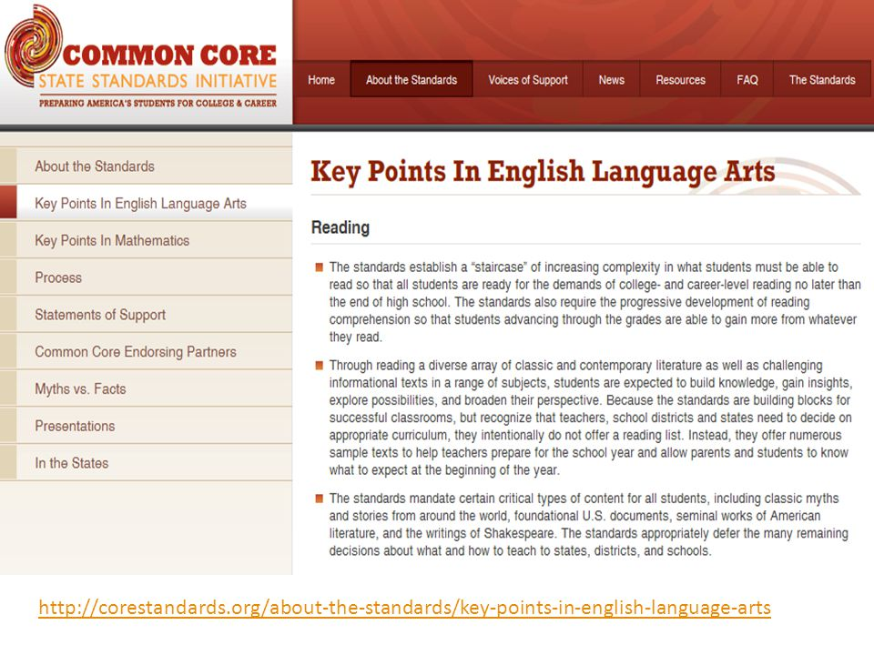 To begin to understand the big picture of the ELA / Literacy standards, start by reviewing the Key Points in English Language Arts from the www.corestandards.org site in more detail. (Very Important Document To View!)
