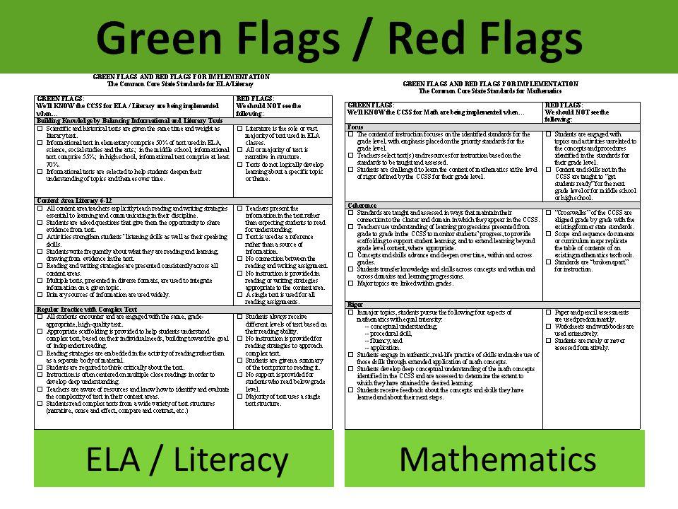 Green Flags / Red Flags ELA / Literacy Mathematics